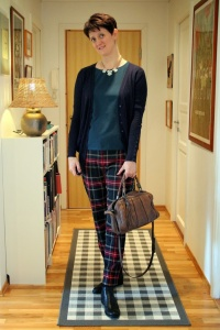 Plaid trousers & emerald lace