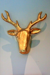 Spraypainted gold antlers