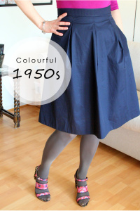 Colourful 1950s flared skirt