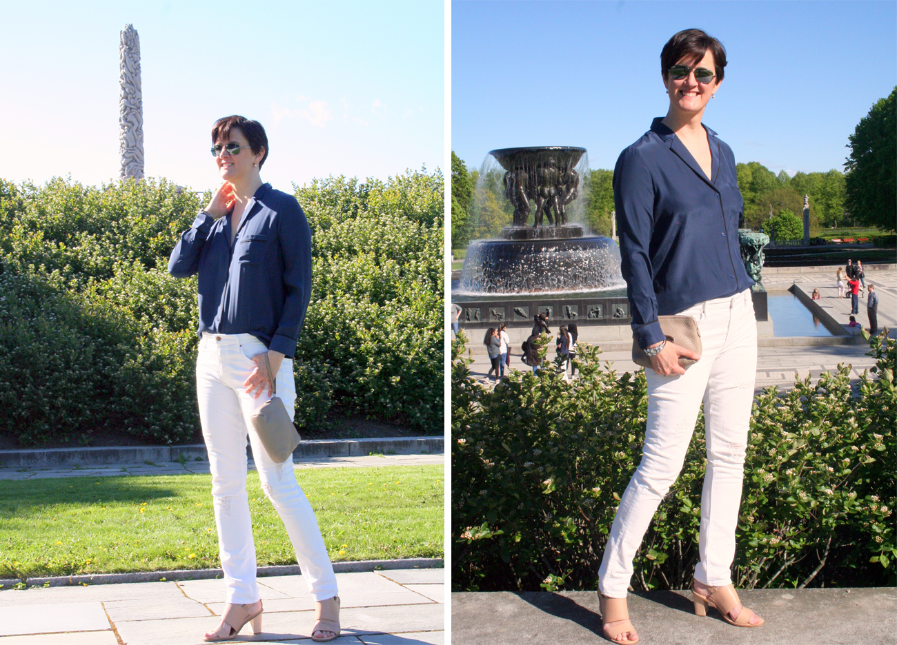 Tall girl's fashion // Nude, white and blue