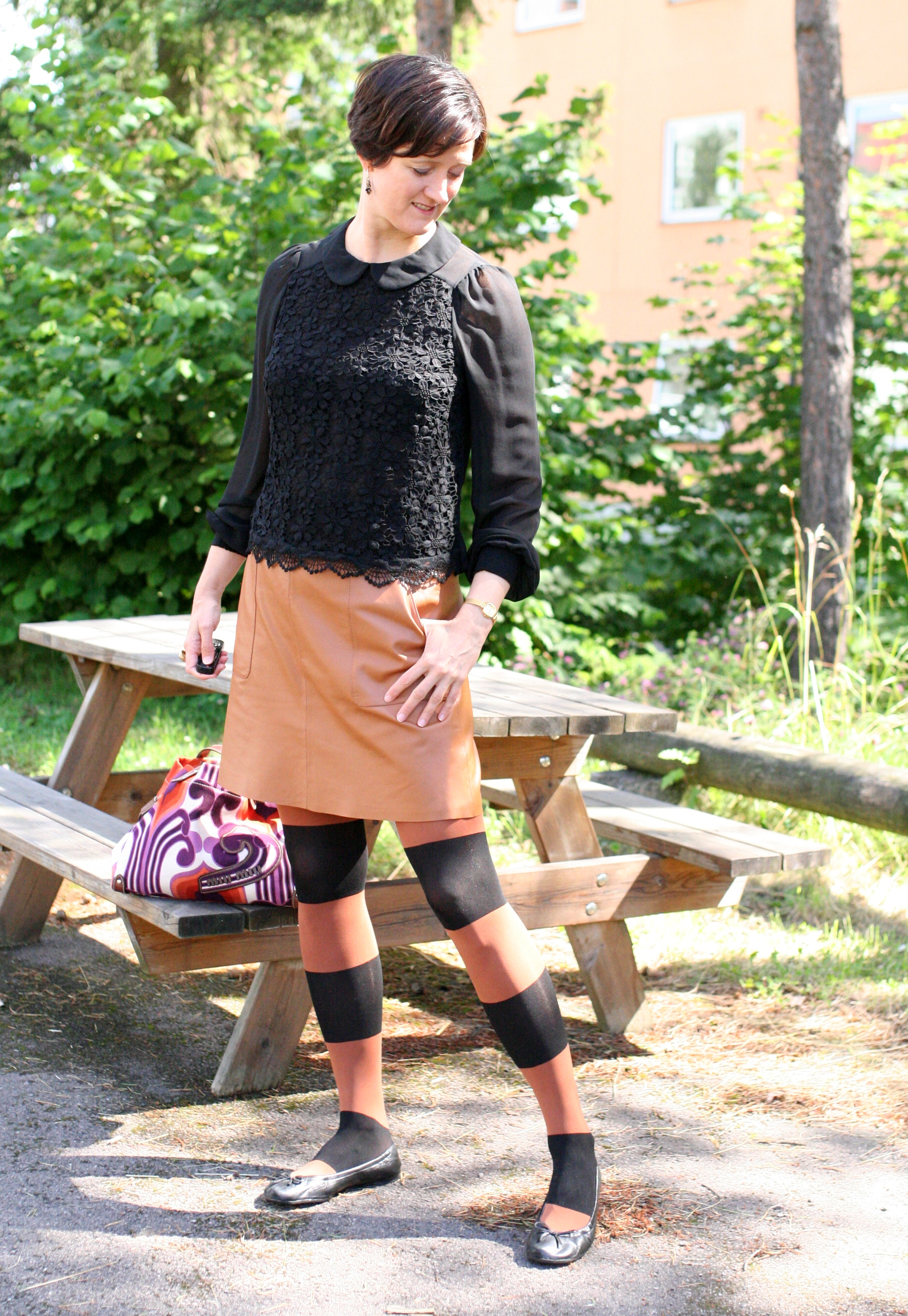 Tall Girl's Fashion // Black lace blouse and mustard leather skirt
