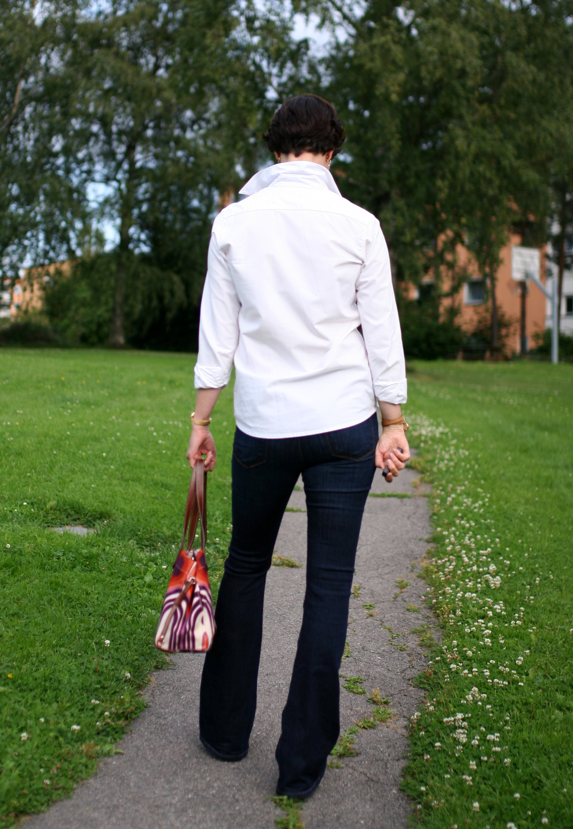 Tall Girl's Fashion // Denim flares and white shirt