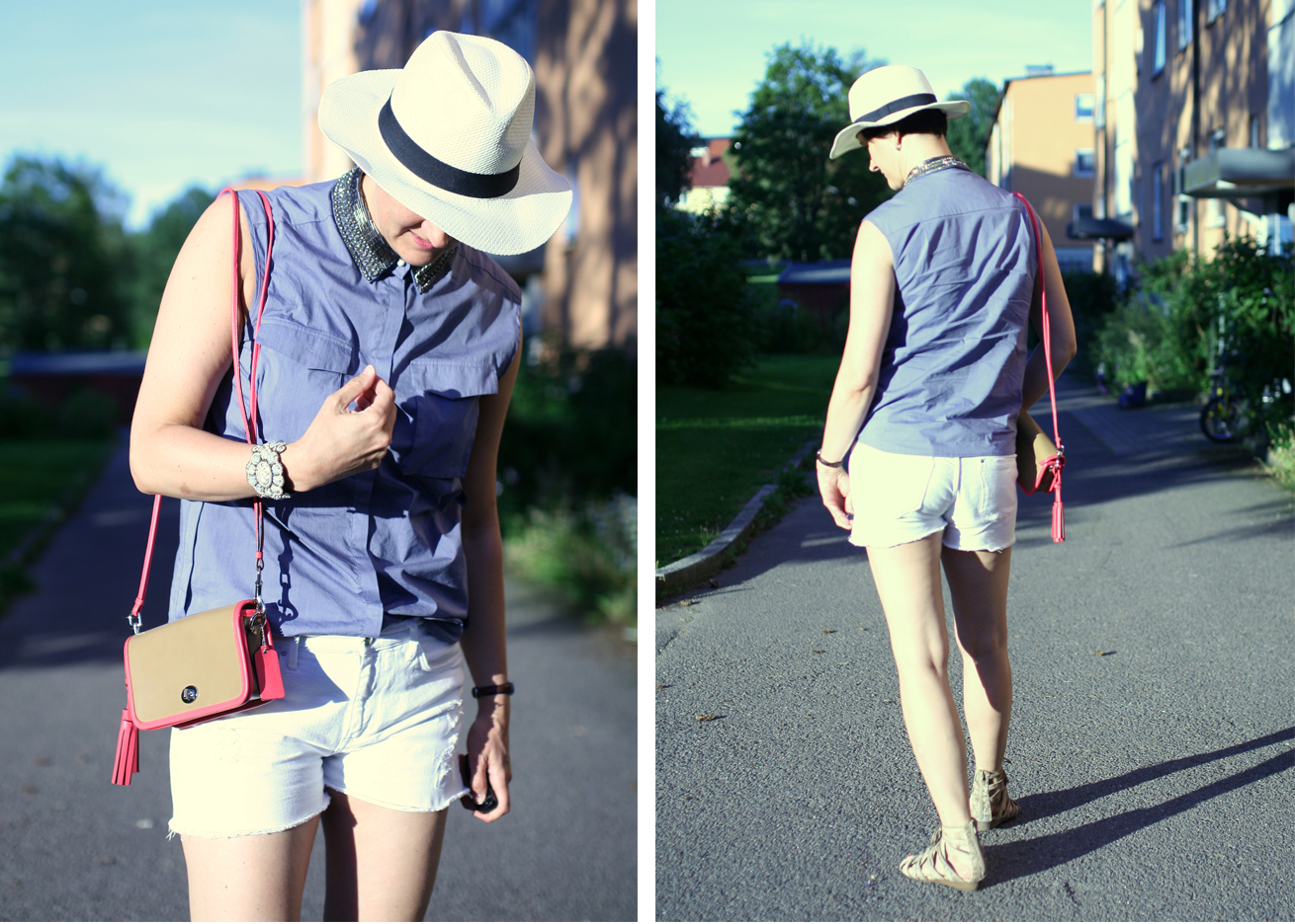 Tall Girl's Fashion // White shorts and blue top