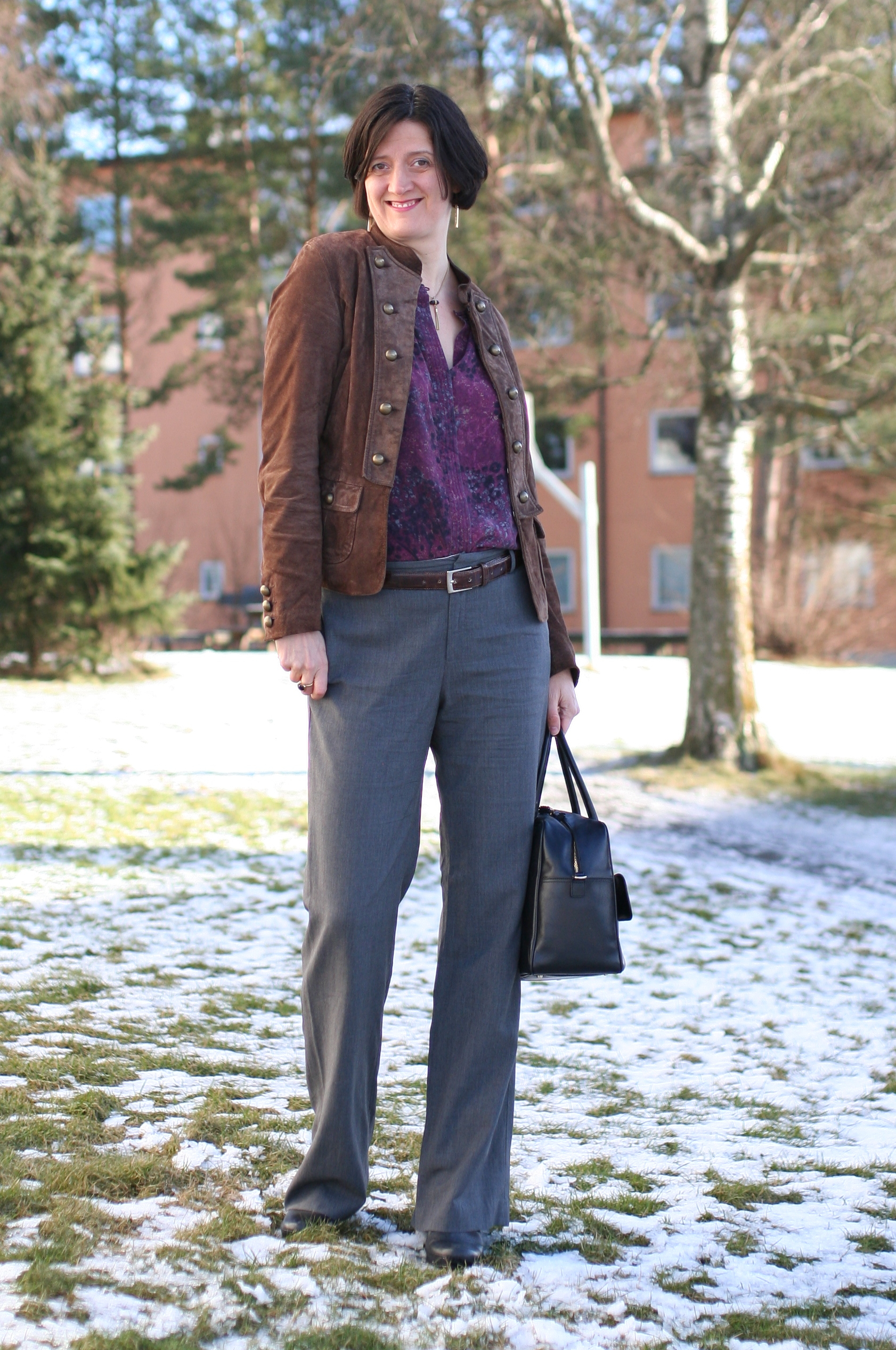 Tall Girl's Fashion // Brown suede jacket styled 3 ways
